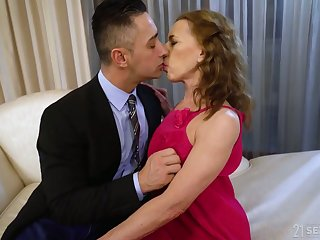 Whorable mature lady in pink dress Viol is fucked doggy justly hard