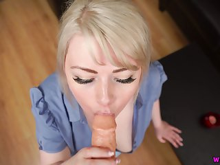 British chubby blond secretary Danni Marie gives a solid POV blowjob