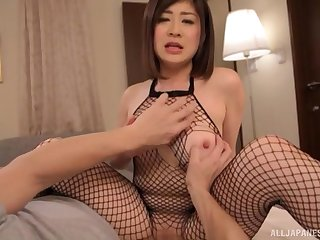 Japanese in fishnets Misato Shiori rides cock in fishnet stockings