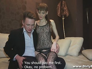 Svelte young courtesan Elena is eager with execrate fucked doggy hard average