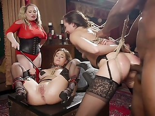 Mega bosomy mistress punishes Avi Love and will not hear of girlfriend in public