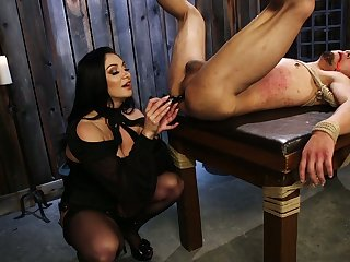 Cruel mistress Football Lexis puts on strapon and fucks anus be worthwhile for submissive dude