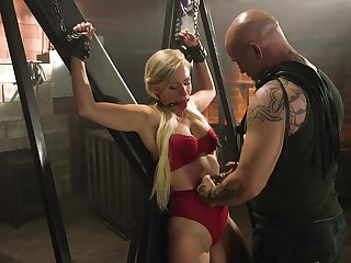 Innocent looking blonde Gabi Gold loves handcuffs coupled with servitude