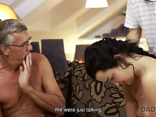 Grey-haired ancient geezer with glasses fucks babe