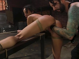 Real bondage slutty gloomy at great cost Alexis Tae is brutally fisted tonight
