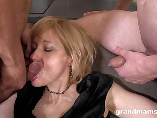 Filthy mature fucked from behind while she penetrates selection man