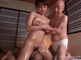 Oiled Japanese model fucked by two guys at eradicate affect same age - Mao Kurata