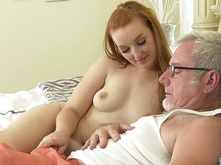Old guy puts his detect in tight pussy of a redhead amateur neonate