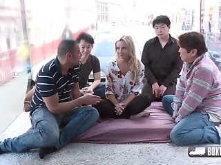Randy blonde girl, Victoria Pure is about to sensible of foursome about three random guys