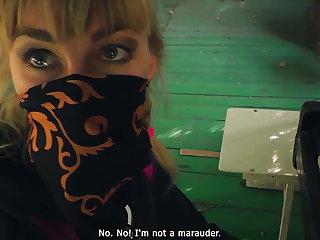 Outdoor blowjob. Stalker Karina sucks a guard's dick