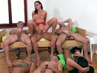 Tina Kay is the center of dedication during awesome gangbang fuck