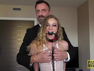 Flexible blonde slut Angel Emily spreads her legs for rough fucking
