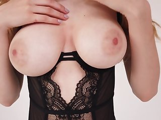 Gorgeous alone busty babe Milla gets rid of her black lingerie coupled with masturbates