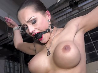 Pornstar Barbara Kysivics tied up and tortured by a reviling