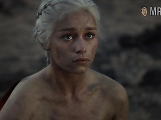 In the same way as a phoenix reborn Daenerys rises from ashes flaunting her sexy nude body