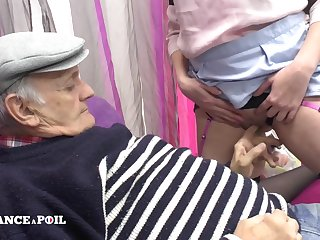 Horny old fart with an increment of dirty french maid
