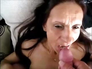 Hot granny realize cum in mouth while hubby describing